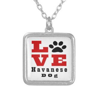 Liebe Havanese Hund Designes Halskette Mit Quadratischem Anhänger