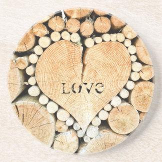 Liebe, Herz, Romance, hölzernes Mosaik Getränkeuntersetzer