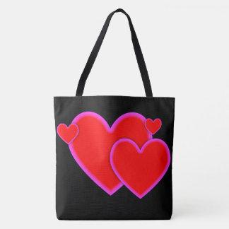 Liebe-Herz-rote lila rosa Grenze auf Schwarzem