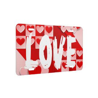 Liebe-Herz-rote weiße Lizenz-Platten-Abdeckung US Nummernschild