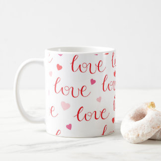 Liebe-Herz-rotes rosa Muster des Valentines Tages Kaffeetasse