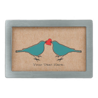 Liebe-Herz und VögelValentines Rechteckige Gürtelschnalle