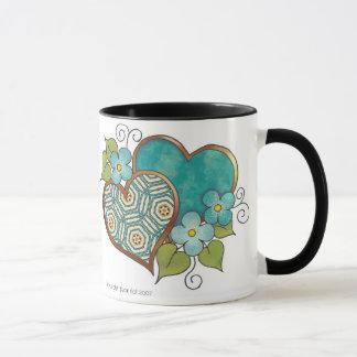 Liebe-Herzen - Jade-Grün-Kreise Tasse