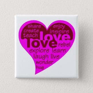 Liebe-Herzknopf Quadratischer Button 5,1 Cm