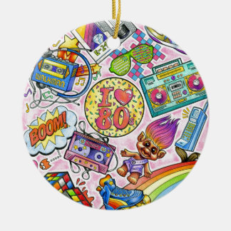Liebe I der 80er - Achtzigerjahre Swag Rundes Keramik Ornament
