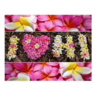 Liebe I Hawaii rosa weißes Plumeria-Blumen-Herz Postkarte