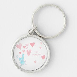 Liebe I Mama-Kind, das Knopf Keychain zeichnet Silberfarbener Runder Schlüsselanhänger