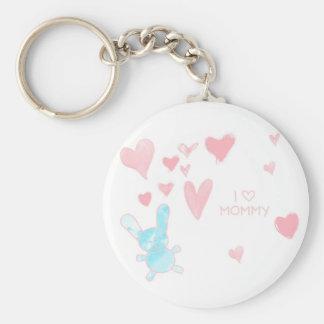 Liebe I Mama-Kind, das Knopf Keychain zeichnet Standard Runder Schlüsselanhänger
