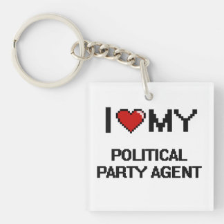 Liebe I mein politischer Party-Agent Einseitiger Quadratischer Acryl Schlüsselanhänger
