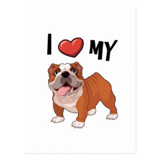 Liebe I meine Bulldogge Postkarte