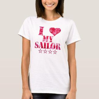 Liebe I meine niedliche rosa Tarnung des Seemanns T-Shirt