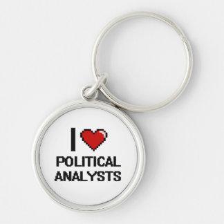 Liebe I politische Analytiker Silberfarbener Runder Schlüsselanhänger