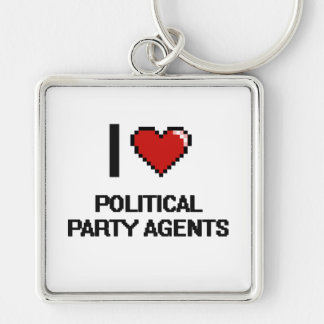 Liebe I politische Party-Agenten Silberfarbener Quadratischer Schlüsselanhänger