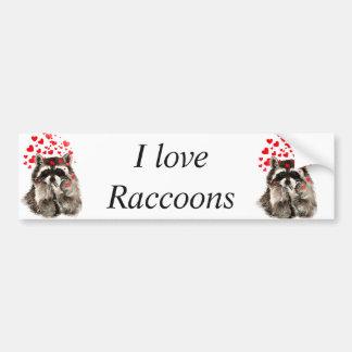 Liebe I Raccoonslustiger Autoaufkleber