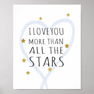 Liebe I Sie mehr als alle Sterne - Kunst-Druck Poster