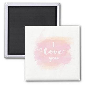 Liebe I Sie weiße Kalligraphie auf rosa Watercolor Quadratischer Magnet
