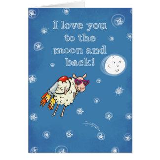 Liebe I Sie zum Mond und zur Rückseite Karte
