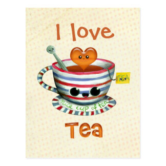 Liebe I Tee Postkarte