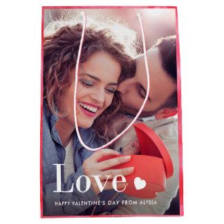 Liebe | Ihr persönliches Foto und ein Herz Mittlere Geschenktüte