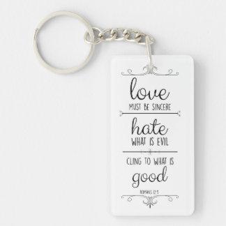 Liebe im christlichen Vers des Aktionsrömer-12:9 Schlüsselanhänger