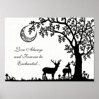 Liebe-immer verzauberter Mond-Baum und Poster