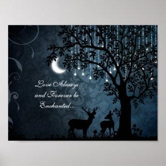 Liebe-immer verzauberter Mond, Lichter, Baum und Poster