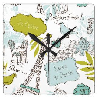 Liebe in Paris-Muster Quadratische Wanduhr