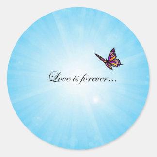 Liebe ist für immer Schmetterling Runder Aufkleber