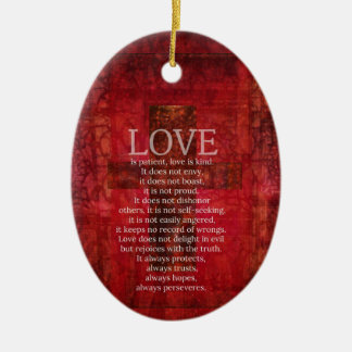 Liebe ist geduldige Liebe ist netter Bibel-Vers Keramik Ornament