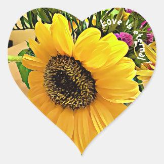 LIEBE IST, Herz geformte Sonnenblumeaufkleber EWIG Herz-Aufkleber