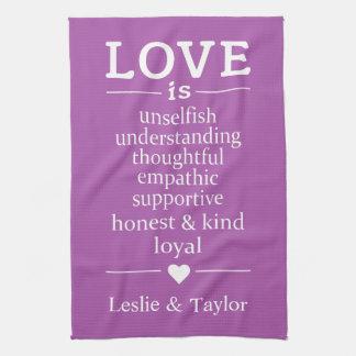 Liebe ist… individuelle Namen u. Farbküchentuch Handtuch