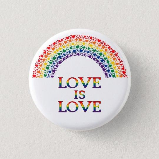 Liebe ist Liebe-Herz-Regenbogenknopf Runder Button 3,2 Cm