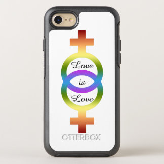 Liebe ist Liebe-weibliche Regenbogen-Symbole OtterBox Symmetry iPhone 7 Hülle