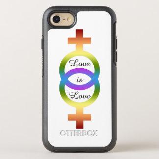 Liebe ist Liebe-weibliche Regenbogen-Symbole OtterBox Symmetry iPhone 8/7 Hülle