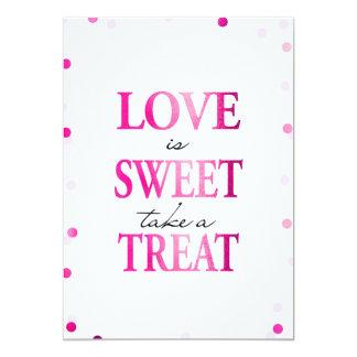 Liebe ist nehmen einem Leckerei-Zeichen | 12,7 X 17,8 Cm Einladungskarte