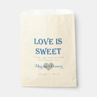 Liebe ist süße blaue und graue Hochzeits-Taschen Geschenktütchen