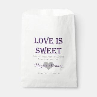 Liebe ist süße dunkle lila Hochzeits-Taschen Geschenktütchen