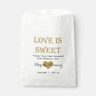 Liebe ist süße Schwarz-und Goldhochzeits-Taschen Geschenktütchen