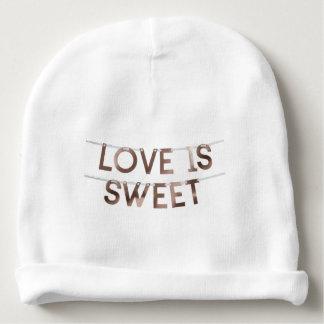 Liebe ist süßer Baby-BaumwollBeanie Babymütze
