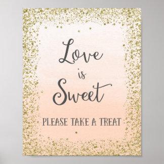 Liebe ist süßer Hochzeits-Plakat-Druck Poster