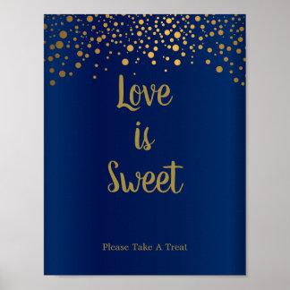 Liebe ist süßes - Goldconfetti-Punkte - Poster
