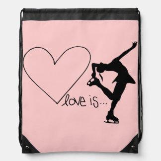 Liebe ist Zahl Skaten, Herz, Rucksack, Baby-Rosa Sportbeutel
