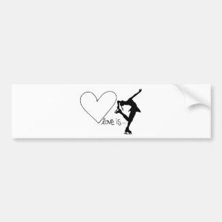 Liebe ist Zahl Skaten, Mädchen-Skater u. Herz Autoaufkleber