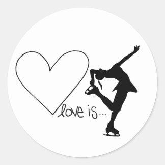 Liebe ist Zahl Skaten, Mädchen-Skater u. Herz Runder Aufkleber