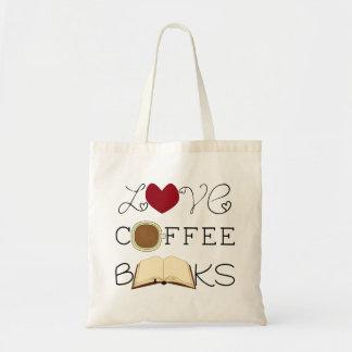 Liebe, Kaffee, Bücher Budget Stoffbeutel