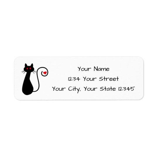Liebe-Katzen-Adressen-Etikett Rückversand-Adressaufkleber
