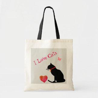 Liebe-Katzen des Budget-I rot und weiße grafische Tragetasche