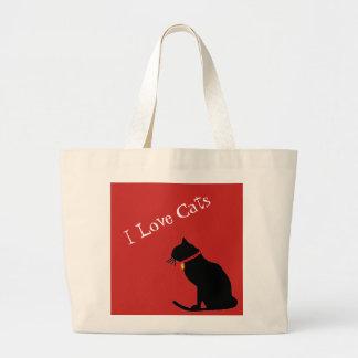 Liebe-Katzen des Tunnel-bohrwageni rot und weiße Jumbo Stoffbeutel