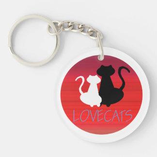 Liebe-Katzen-Paar-einfache stilvolle Silhouette Schlüsselanhänger