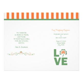 Liebe-Kleeblatt-Hochzeits-Programm-Flyer 21,6 X 27,9 Cm Flyer